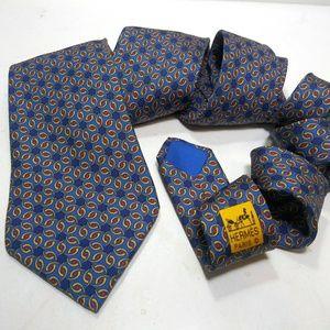Hermes Blue Yellow Red Geometric Men's Neck Tie